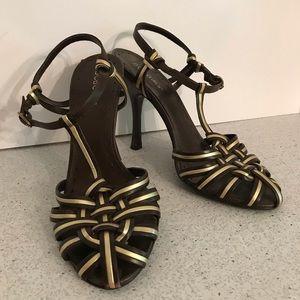 Strappy brown & gold high heel sandals